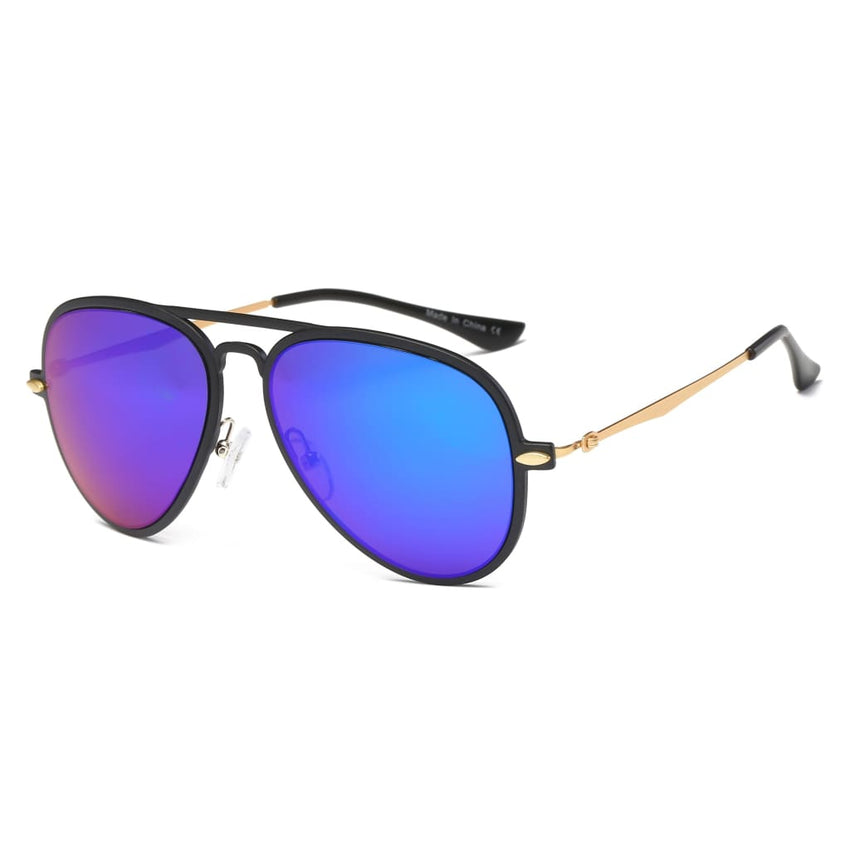 Retro Vintage Aviator Sunglasses - Purple/Blue - Havana86