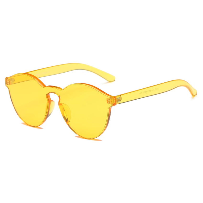 Retro Vintage Colorful Rimless Sunglasses - Havana86