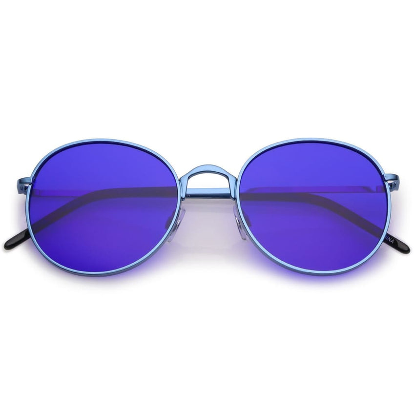 Round Metal Frame Color Tinted Sunglasses - Havana86