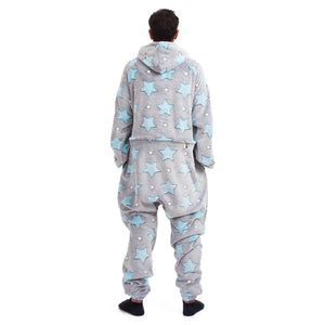 "Snuggs Blanket Onesie ""Grey with stars mint and white"""