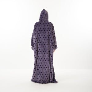 "Snuggs Monk Wearable Blanket ""Purple Polka Dots"""
