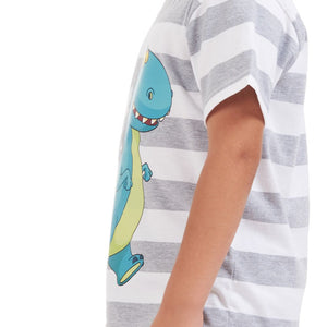 "Boys summer pajama set ""Dinasour t-shirt + Grey striped shorts"""