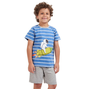 "Boys summer pajama set ""Rocket t-shirt + Grey shorts"""