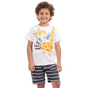 "Boys summer pajama set ""Giraffe t-shirt + Dark Grey striped shorts"""