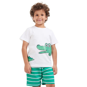 "Boys summer pajama set ""Crocodile t-shirt + Green striped shorts"""