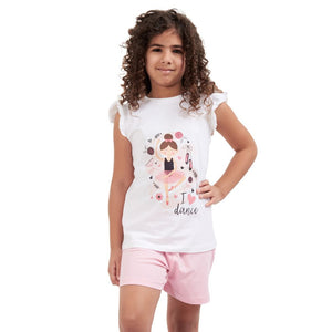 "Girls summer pajama set ""Dancer t-shirt + Pink shorts"""