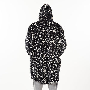 "Snuggs Blanket Hoodie ""Black Dog Paws"""