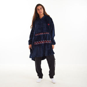 "Snuggs Blanket Hoodie ""Dark Blue Tribal Pocket"""