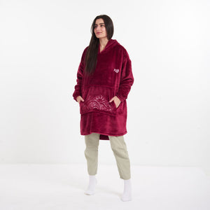 "Snuggs Blanket Hoodie ""Dark Red Doodled Pocket"""