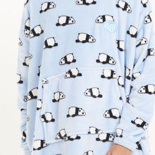 "Snuggs Blanket Hoodie ""Light Blue Lazy Panda"""
