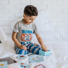 "Boys summer pajama set ""Game play t-shirt +blue striped pants"""