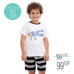 "Boys summer pajama set ""Airplane t-shirt + Black striped shorts"""