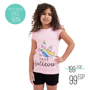 "Girls summer pajama set ""Believer t-shirt + Black shorts"""
