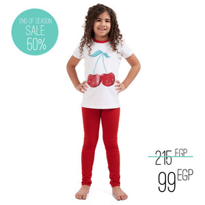 "Girls summer pajama set ""Cherry t-shirt + Red leggings"""