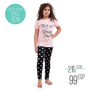 "Girls summer pajama set ""Dreamland t-shirt + Polka dots leggings"""