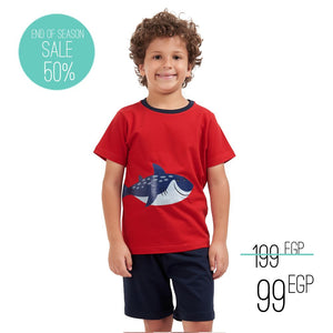 "Boys summer pajama set ""Shark t-shirt + Dark Blue shorts"""