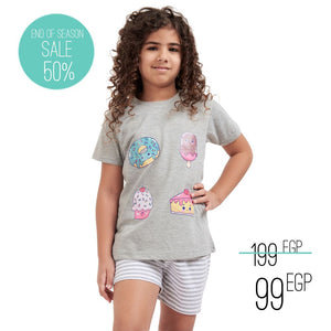 "Girls summer pajama set ""Sweets t-shirt + Grey striped shorts"""