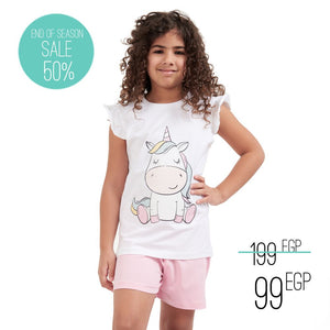 "Girls summer pajama set ""Unicorn t-shirt + Pink shorts"""