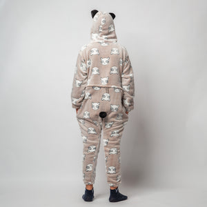 "Snuggs Kids Blanket Onesie ""Light Taupe Panda Onesie"""