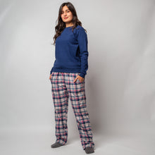 "Women Winter Pajama Set ""Dark Blue Sweatshirt & Checkered Pants"""