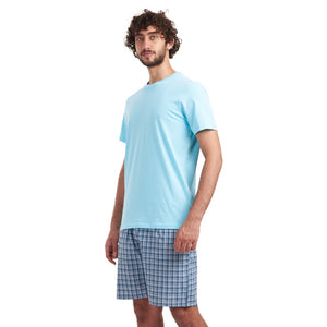 "Men summer pajama set ""Aqua t-shirt + Turquoise checkered shorts"""