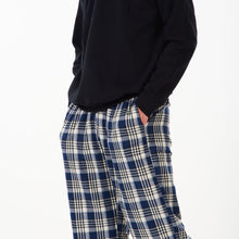 "Men Winter Pajama Set ""Black Sweat shirt + Black x Dark Blue Checkered Pants"""