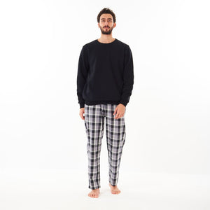 "Men Winter Pajama Set ""Black Sweat shirt + Black x Purple Checkered Pants"""
