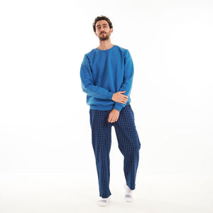 "Men Winter Pajama Set ""Blue Shirt + Blue x Dark Blue Checkered Pants"""