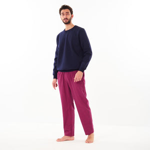 "Men Winter Pajama Set ""Dark Blue Sweat shirt + Red x Dark Blue Checkered Pants"""