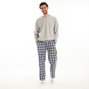 "Men Winter Pajama Set ""Dark Grey shirt + Blue x Grey Checkered Pants"""
