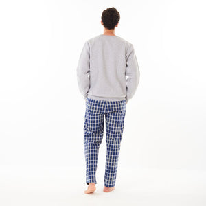 "Men Winter Pajama Set ""Grey Sweatshirt + Blue x Grey Checkered Pants"""