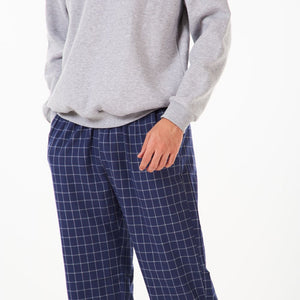 "Men Winter Pajama Set ""Grey Sweat shirt + Maroon x Teal Checkered Pants"""