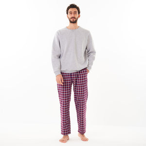 "Men Winter Pajama Set ""Grey Sweat shirt + Red x Grey Checkered Pants"""