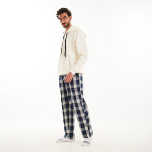 "Men Winter Pajama Set ""Off White shirt + Black x Dark Blue Checkered Pants"""