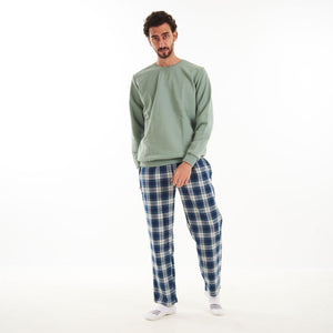 "Men Winter Pajama Set ""Light Green Shirt + Light Green Checkered Pants"""