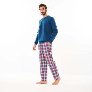 "Men Winter Pajama Set ""Teal Sweat shirt + Teal x Red Checkered Pants"""