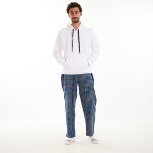 "Men Winter Pajama Set ""White shirt + Yellow x Turquoise Checkered Pants"""