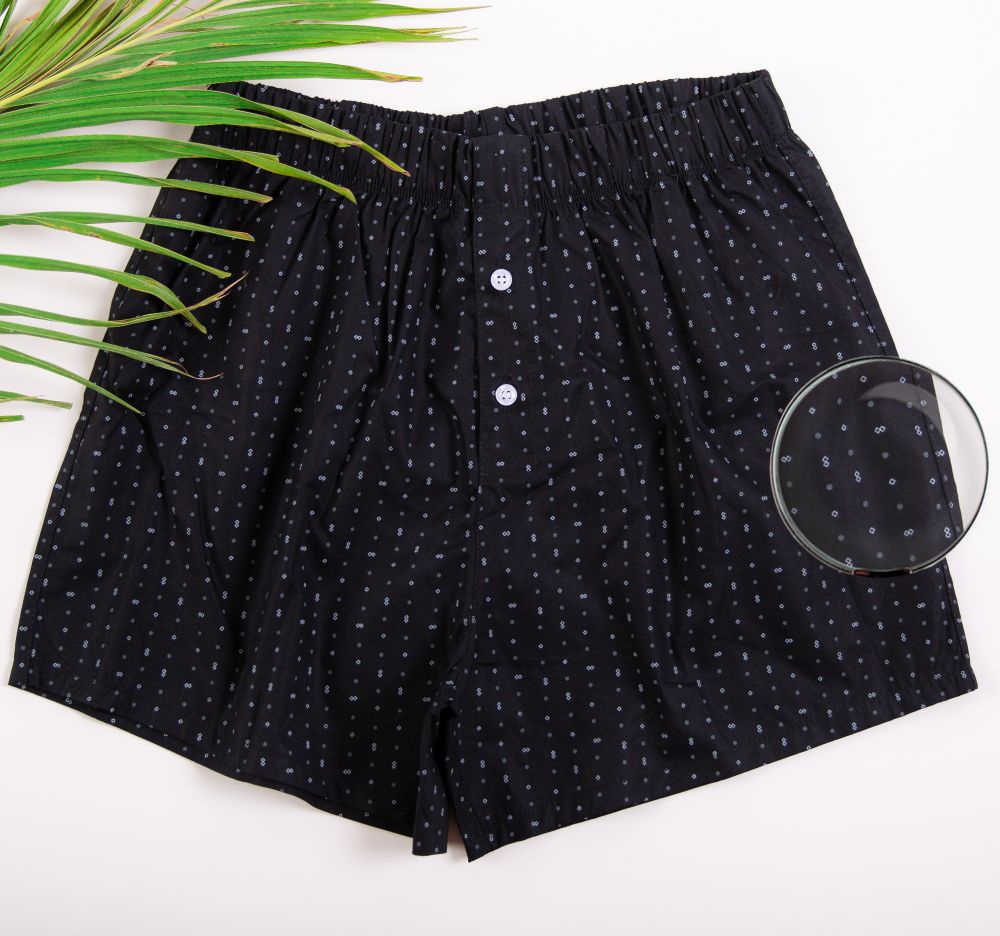 Black patterned boxer shorts