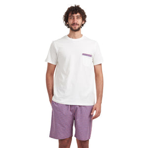 "Men summer pajama set ""Off-white t-shirt + Checkered Red shorts"""