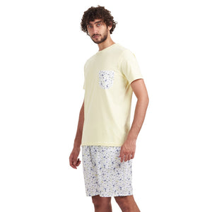 "Men summer pajama set ""Yellow t-shirt + Printed yellow shorts"""