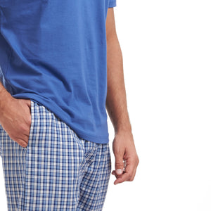 "Men summer pajama set ""Blue t-shirt + Blue checkered pants"""