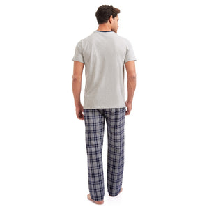 "Men summer pajama set ""Grey t-shirt + Grey checkered pants"""