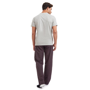 "Men summer pajama set ""Grey t-shirt + Dark Red checkered pants"""
