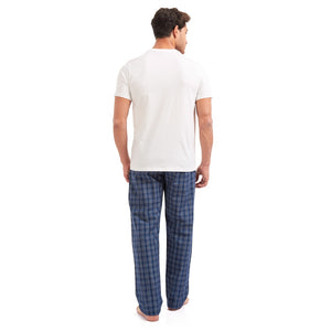 "Men summer pajama set ""Off White t-shirt + Dark Blue checkered pants"""