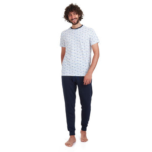 "Men summer pajama set ""Swimming man t-shirt + Dark Blue pants"""