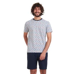 "Men summer pajama set ""Boats t-shirt + Dark Blue shorts"""