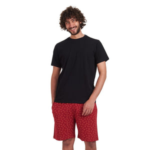 "Men summer pajama set ""Black t-shirt + Dark Red boats shorts"""