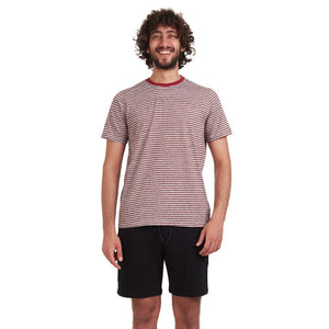 "Men summer pajama set ""Striped Dark Red t-shirt +Black shorts"""