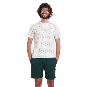 "Men summer pajama set ""Swimming man t-shirt + Dark Green shorts"""