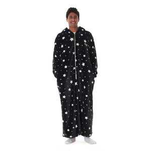 "Snuggs Monk Wearable Blanket ""Black Stars"""